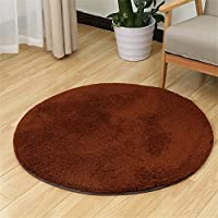 S-ssoy Soft Artificial Berber Fleece Round Rug Flexible Smooth Carpet/Mat For Stairway,Toilet,Study,FloorBedroom,Living Room,Bathroom,Kitchen,Home Decoration,Area Rug Coffee Diameter 80cm