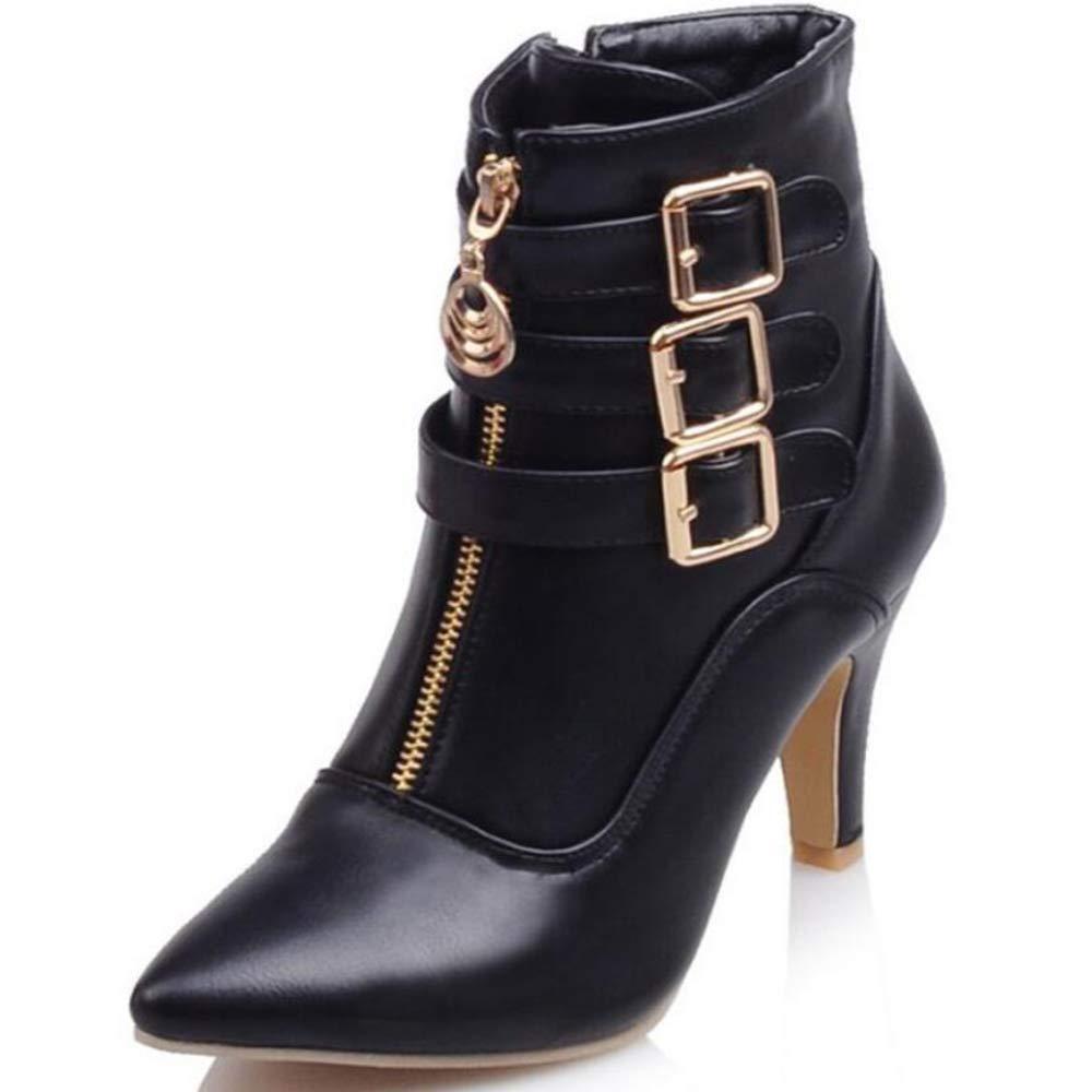 Herbstliche Weibliche Stiefel Gürtel Schnüffeln Weibliche Stiefel Big Code Code Code Short Stiefel Pointy Roman Stiefel Martin Stiefel,schwarz,UK5 EUR39 378ca7