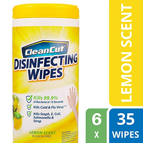 Clean Cut Disinfecting Wipes, Lemon Scent, 35 Wet Wipes, 6-Pack, Kills 99.9% of Bacteria, Multi-Surface Cleaning Wipes, Great for Kitchens, Bathrooms, Offices, and Classrooms