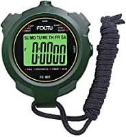 FCXJTU Professional Stopwatch Timer, 1Lap Memory Count up/Down Clock Timer with Luminous Function Mute Mode In