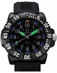 CARNIVAL Mens Tritium Luminous military Watches H3 Quartz Rotatable Bezel waterproof Rubber Black Watch