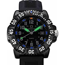 CARNIVAL Mens Tritium Luminous military Watches H3 Quartz Rotatable Bezel waterproof Rubber Black Watch