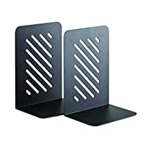 """Steelmaster Heavy Duty 8"""" Slotted Bookends, 1 Pair, Black"""