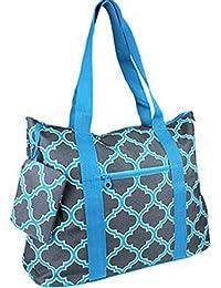 Stylish Roomy Large Quatrefoil Moroccan Print Tote Bag Blue