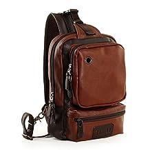 YiYiNoe 10L Large Capacity Unbalance Backpack Chest Sling Bag PU Leather Sports Sling Shoulder Bag for Men Brown