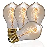 DORESshop Vintage Edison Bulbs, 60W A19 Antique Style Filament Pendant Lighting, Amber Glass (E26), Dimmable Light Bulb for Home Light Fixtures, Omnidirectional 360 Degrees Angles, 4-Pack