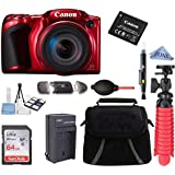 Canon Powershot SX420 IS 20 MP Wi-Fi Digital Camera with 42x Zoom (RED) Includes: Canon NB-11LH Battery & Canon Charger + 64GB Deluxe Accessory Kit w/Microfiber Cloth