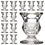 """Hosley's Set of 12 Glass Taper Candle Holders - 2.5"""" High. ideal for weddings, party favor, gifts"""