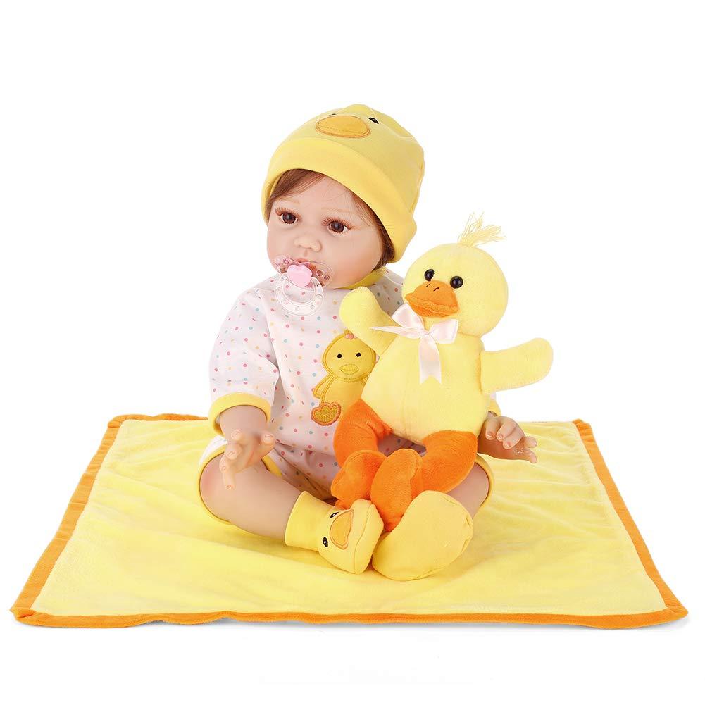 HeDIANz 55cm Reborn Baby Vinyl Silikon Puppe Spielzeug mit Cartoon Duck Stickerei Kleidung B07P54R5LT Babypuppen Qualität  | Sehr gelobt und vom Publikum der Verbraucher geschätzt