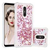Cfrau Liquid Case with Black Stylus,Women Girls Luxury Love Hearts Stars Bling Glitter Diamond Floating Shockproof Quicksand TPU Case Compatible with LG Stylo 5,Rose Gold Hearts