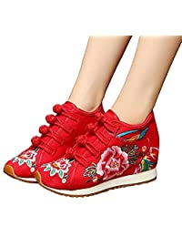 ZYZF Women Chinese Casual Embroidered Dancewear Oxfords Rubber Sole Mary Jane Sport Shoes