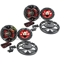4) New BOSS CH6520 6.5 2-Way 500W Car Coaxial Audio Speakers Stereo Red 6 1/2