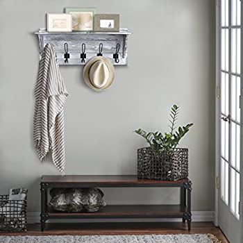 """Rustic Wall Mounted Coat Rack Shelf - Wooden Country Style 24"""" Entryway Shelf with 5 Rustic Hooks - Solid Pine Wood. Perfect touch for your Entryway, Mudroom, Kitchen, Bathroom and More (White)"""