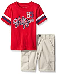 Tommy Hilfiger Little Boys' 2 Piece Graphic Tee with Cargo Short Set