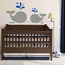 """Baby Nursery Wall Decal - Mom and Baby Whales Wall Decal Vinyl Sticker Cute Kids Room D¨¦cor(30""""h x60""""w,Gray+Navy Blue)"""