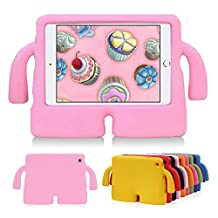 HCHA iPad Mini 4 3 2 1 Kids Proof Shockproof Protective Cases Lightweight Drop-proof EVA Foam Carry Handles Case for iPad Mini 1/2/3/4 NOT for iPad 2/3/4 or iPad Air (Pink)