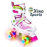 Xino Sports Adjustable Roller Skates for Children - Featuring PU Wheels, Awesome-Looking, Safe and Durable Roller Skates, Perfect for Boys and Girls! Pink Size Medium 1-4