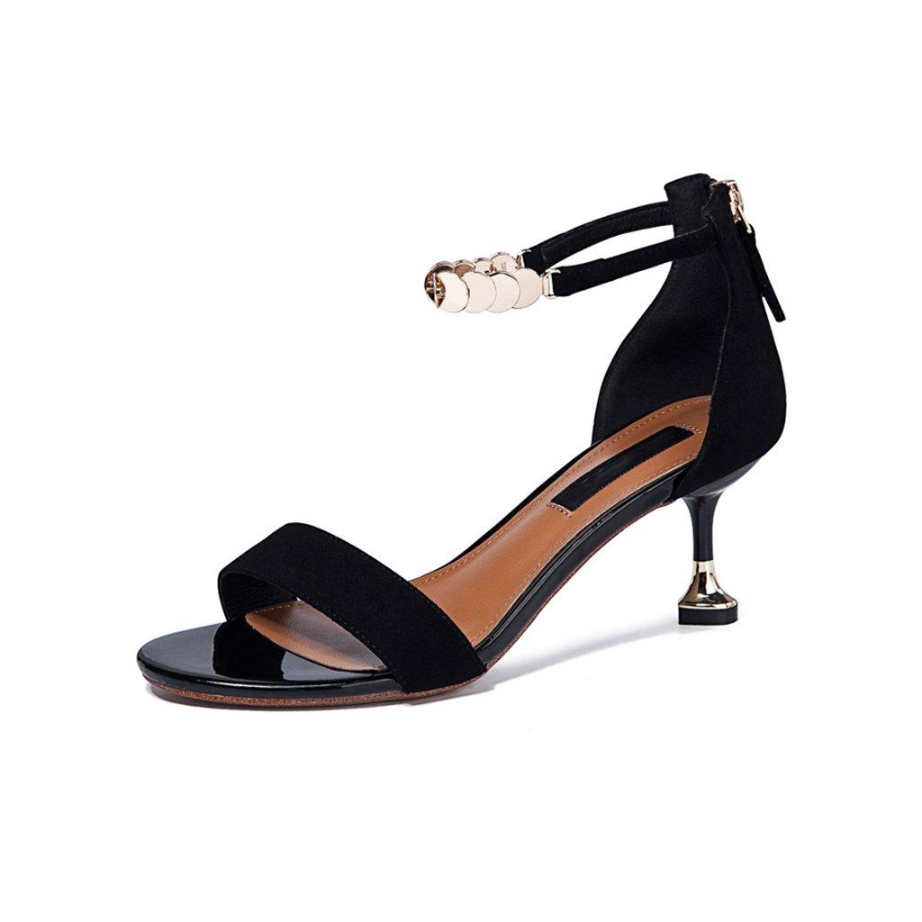 JIANXIN JIANXIN Sandales D'été Sandales Stiletto à Bout Ouvert pour Femme Chaussures Metal Wild femmes (Couleur   Noir, Taille   EU 39 US 8 UK 6 JP 25cm)  mode