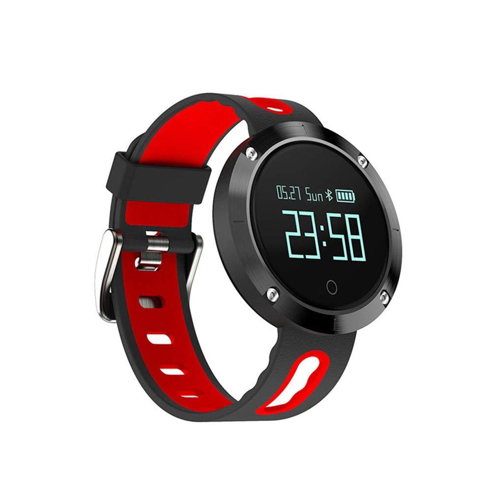 WANGXN Smart Bracciale blutooth Steps frequenza cardiaca Pressione del Sonno monitoraggio Cinturino Impermeabile,Red