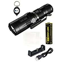 BUNDLE: NiteCore EA11 White and Red LED Flashlight with NiteCore IMR 14500 battery, MC1 Charger, Case, and LightJunction Keychain Light