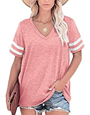 Womens T Shirts Striped Sleeve Tops Tee Summer Casual Loose Solid Color Basic All-Match Tee Shirt