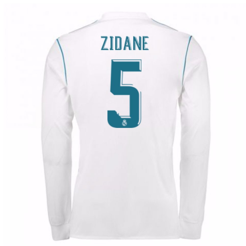 2017-18 Real Madrid Long Sleeve Home Football Soccer T-Shirt Trikot (Zinedine Zidane 5)