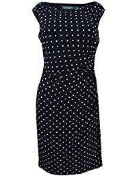 Lauren Ralph Lauren Womens Polka Dot Ruched Cocktail Dress