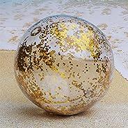 NUZYZ Inflatable Beach Ball-Glitter Beach Ball 24inch, Confetti Beach Ball Pool Summer Party,Enjoyable Interac