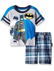 Warner Brothers Little Boys' 2 Piece Batman Tee and Plaid Short Set