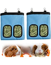 2 Pieces Guinea Pig Hay Feeder Bags with Two Edge-Thickened Holes, Bite Resistant 600D Oxford Cloth Rabbit Hay Feeder Storage, Cage Hanging Hay Bag for Small Animal, Reusable and Easy Clean(Blue)