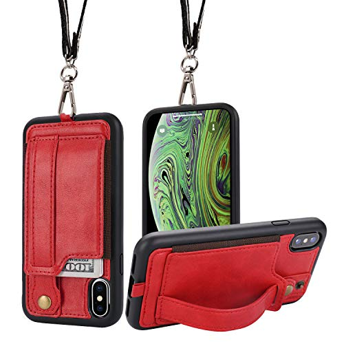 iPhone X/Xs Wallet Case Phone Lanyard Neck Strap TOOVREN iPhone Xs / 10 Protective Case Cover with Stand Leather PU Card Holder Adjustable Detachable iPhone Lanyard for Anti-Theft and Activity Red