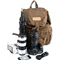 CRAZY ANTS Canvas SLR DSLR Digital Camera Backpack Bag Case Casual Backpack Outdoor Travel Daypack Rucksack Cool School Bag with Shockproof Insert & Rainproof Cover