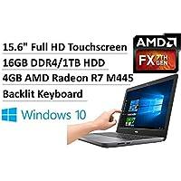 2017 Newest Dell Inspiron 15.6 Full HD Premium Touchscreen Laptop, Quad-Core AMD FX-9800P up to 3.6GHz, 16GB DDR4, 1TB HDD, 4GB AMD Radeon R7 M445, Backlit Keyboard, DVDRW, 802.11ac, BT4.0, Win10