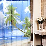 Hawaii Tropical Palm Tree Summer Beach Polyester Shower Curtain Bathroom Decor