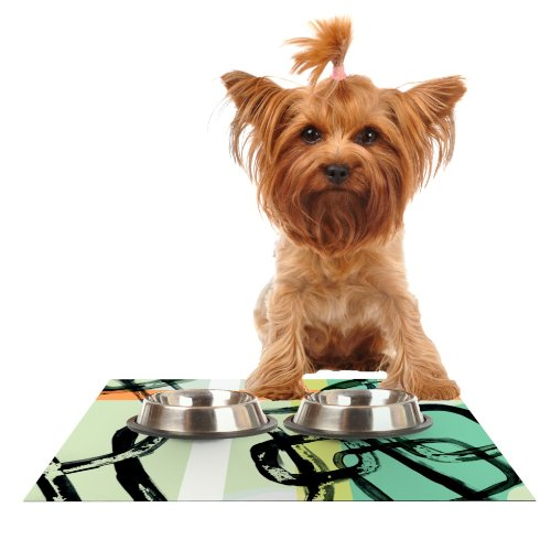 Kess InHouse Theresa Giolzetti Sixties Stripe  Teal orange Feeding Mat for Pet Bowl, 18 by 13-Inch