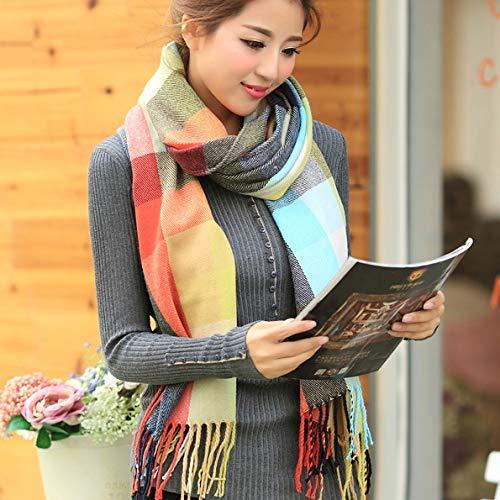 Scarf for Gift Autumn and Winter Plaid Scarf Knit Scarf Warm Scarf Female bib Shawl Dual Purpose (Size   B) Classic Scarf (Size   B)