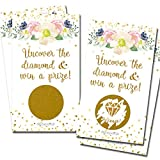 Scratch Off Gold Floral White Party Game   Bridal Shower Activity   25 Pack