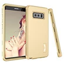 "Galaxy Note 8 Case, MCUK [Shockproof] 3 in 1 High Impact Hybrid Armor Defender Silicone Rubber Hard Skin Heavy Duty Full-Body Protective Case for Samsung Galaxy Note 8 6.3"" 2017 (Gold+Gold)"