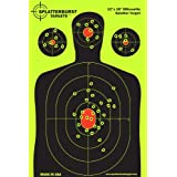 """50 Pack - 12""""x 18"""" Silhouette Splatterburst Target - Instantly See Your Shots Burst Bright Florescent Yellow Upon Impact!"""