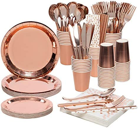Larchio Rose Gold Party Supplies for twenty-four Guest, Disposable Rose Gold Party Plates and Cups, Paper Straws and Napkins with Rose Gold Cutlery for Birthday Wedding Baby Shower Party Supplies