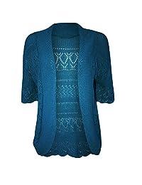 New Womens Ladies Crochet Knitted Bolero Shrug Short Cap Sleeve Crop CardiganTop