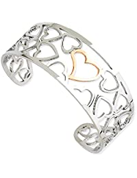IceCarats Stainless Steel Pink Ip Plated Hearts Cuff Bangle Bracelet