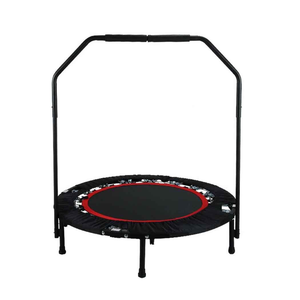 Buyi-World Trampolin mit Haltestange Fitness Trampolin Elastisch Faltbar 102 cm Durchmesser, Unterstützung bis zu 150 kg (Schwarz)