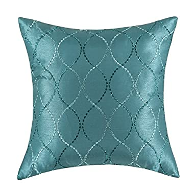 CaliTime Pillow Shell Cushion Cover Faux Silk Modern Waves Geometric Embroidered 18 X 18 Inches Teal