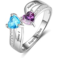 Love Jewelry Personalized Mother Daughter Rings 2 Heart Simulated Birthstones Custom Women Promise Rings Her