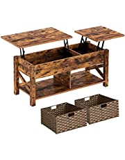 Rolanstar Coffee Table, Lift Top Coffee Table with Storage Baskets and Hidden Compartment, Retro Central Table with Wooden Lift Tabletop, for Living Room