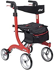 Drive Medical Nitro Euro Style Walker Rollator, Tall, Red 1 Count