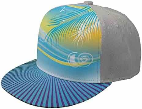 f47f4ffa0a652 Padida Summer Sea Background Adjustable Baseball Cap Snapback Cap Unisex  Hip Hop Flat Hats Grey