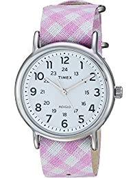Timex estilo Weekender Slip-Thru para mujer, Pink/White 2, Una talla