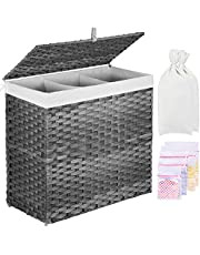 Greenstell Laundry Hamper with 2 Removable Liner Bags & 5 Mesh Laundry Bag, 3 Sections Divided Panier à Linge Handwoven Synthetic Rattan Laundry Basket with Lid and Handles, Easy to Install Gray